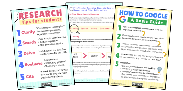 Free PDF that breaks down how to teach students to research -- Kathleen Morris Primary Tech