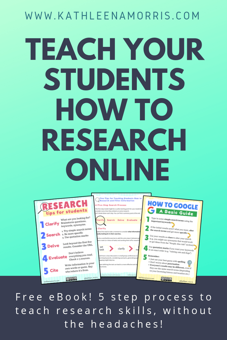 5 simple steps to teaching Google search tips and internet research skills for students. This 2019 post and free eBook shows how to research effectively for kids in primary school, middle school and high school. These tips are summarized in a free research skills poster for your classroom.
