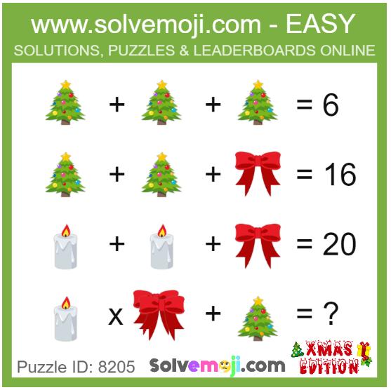 Xmas emoji maths puzzle