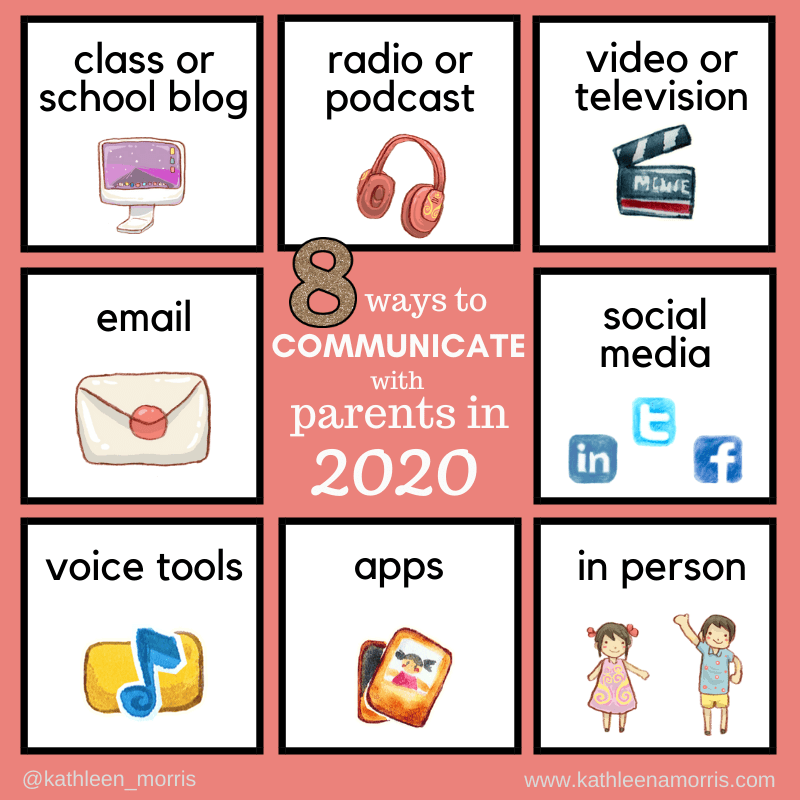 summary of 8 ways for teachers to communicate with parents in 2020 as detailed in the post by Kathleen Morris
