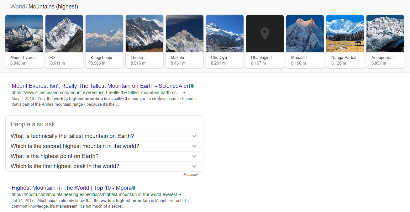 What is the highest mountain in the world