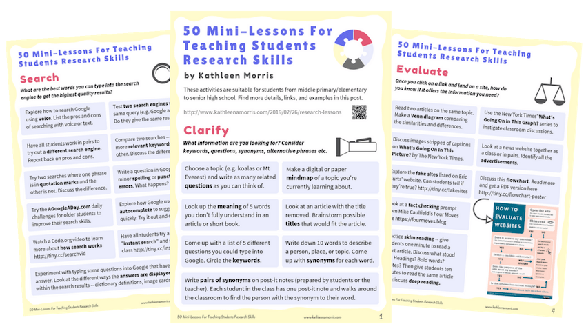 50 Mini-Lessons For Teaching Students Research Skills Kathleen Morris PREVIEW Click to download PDF copy