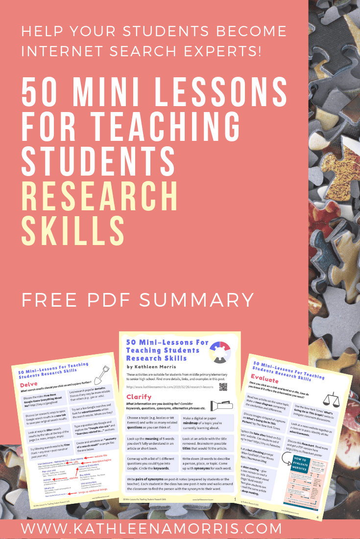 Learn how to teach research skills to primary students, middle school students, or high school students. 50 activities that could be done in just a few minutes a day. Lots of Google search tips and research tips for kids and teachers. Free PDF included! Kathleen Morris | Primary Tech