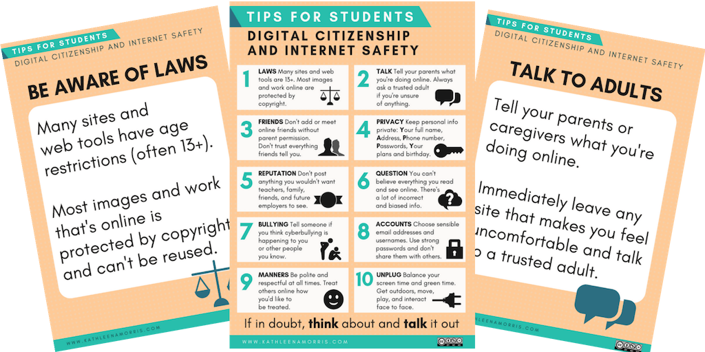 This post outlines a 4 step approach to covering digital citizenship education, whatever your level of experience. There's also a set of 11 posters for your classroom | Kathleen Morris Primary Tech