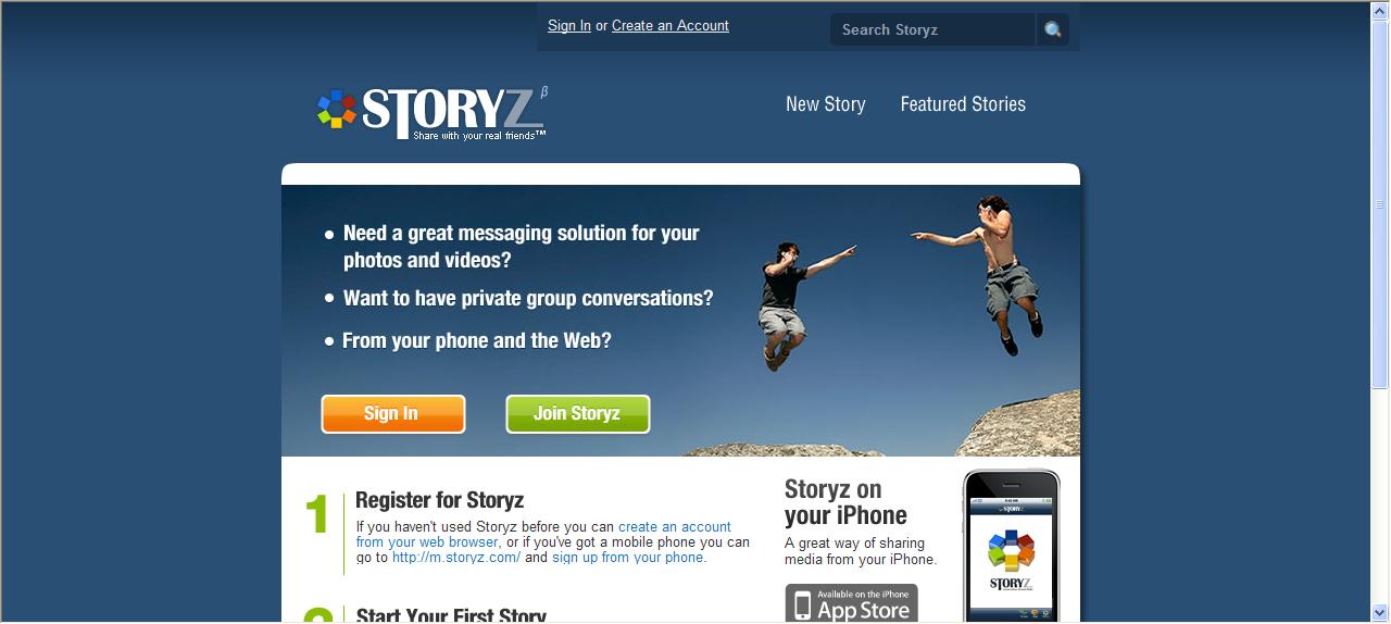Storyz homepage