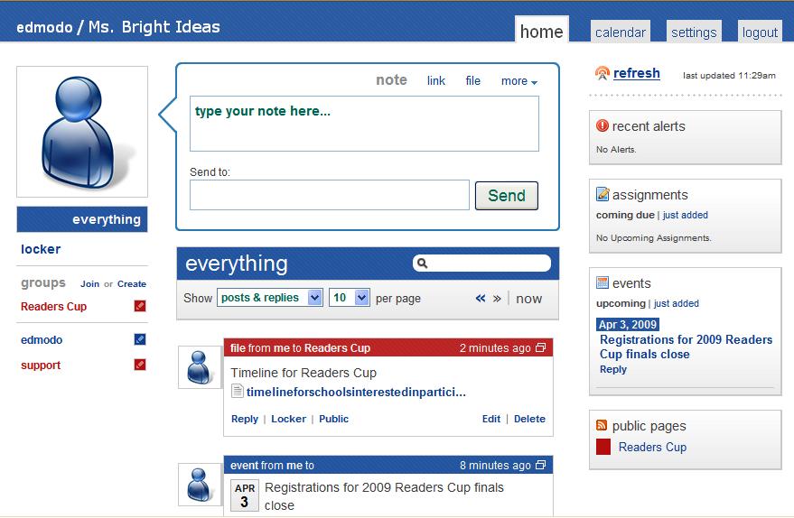 My Edmodo Homepage