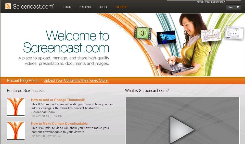 Screencast homepage