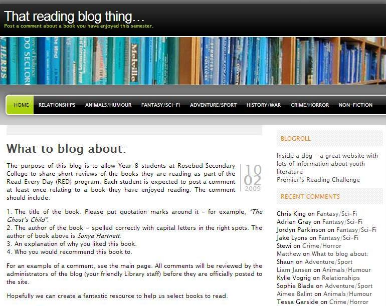 """That reading blog thing..."" homepage"