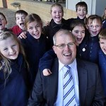 Keen to learn: Principal Mark Portman with students at the new Kinglake West Primary School. Picture: Rob Leeson.