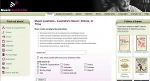 Music Australia homepage