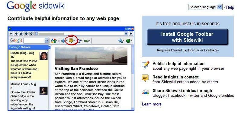 Sidewiki homepage