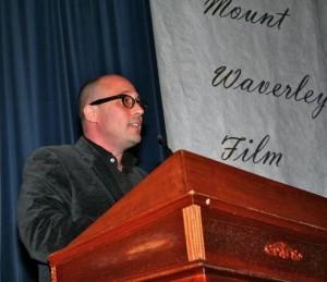 Adam Elliot speaking to the audience