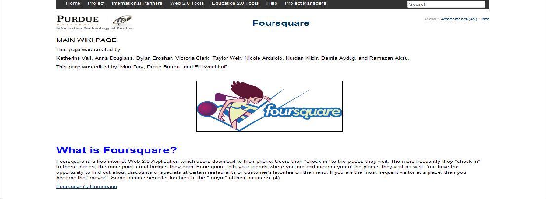 foursquare wiki page