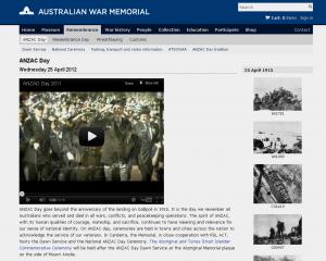 Go to Australian War Memorial  ANZAC Day