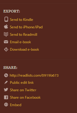 Create ebooks with Readlists