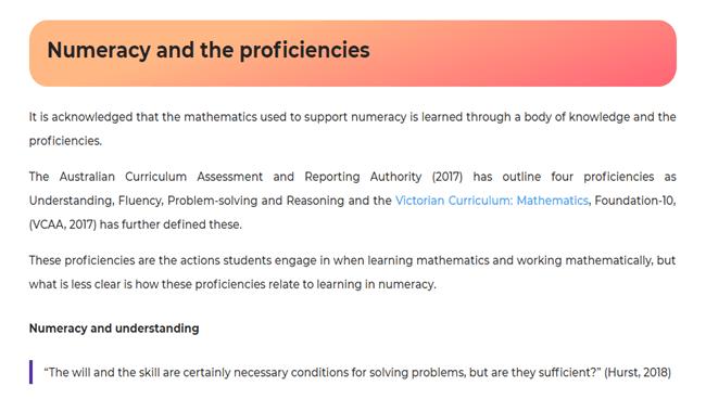 Numeracy and the proficiencies
