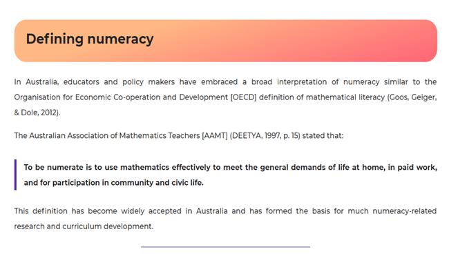 Defining numeracy