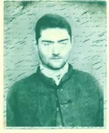 """""""Ned Kelly, from a prison photograph taken when he was 18. Composite image from VPRS 515P Central Register of Male Prisoners"""""""