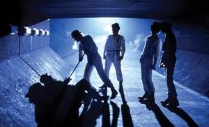 "Droogs attack tramp in the Stanley Kubrick movie ""A Clockwork Orange"""