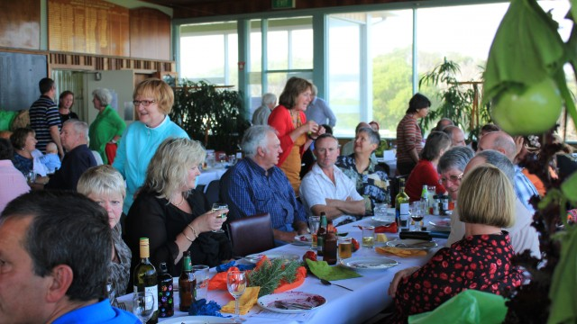 The entire community of King Island sits down to lunch.