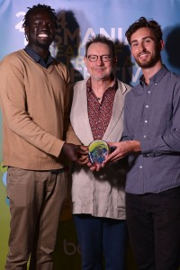 Abraham Nouk & Michael Johnston winners of BOFA Short Film Award with Martin simpson (middle, judge)