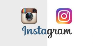 Comparative image of Instagram's old logo, resembling an instant camera, and their new colourful logo.