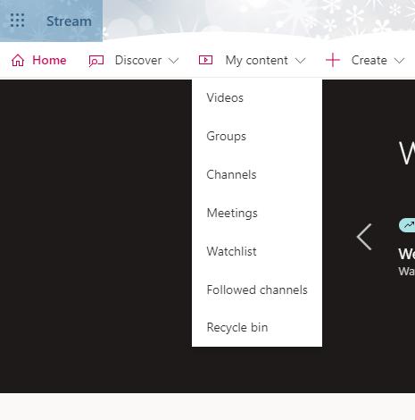 screenshot of Stream menu
