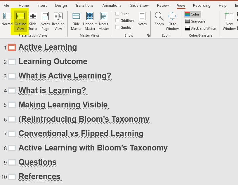 Image on Outline of Presentation