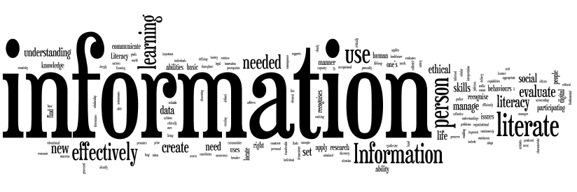 Wordle representing the common words in information literacy definitions