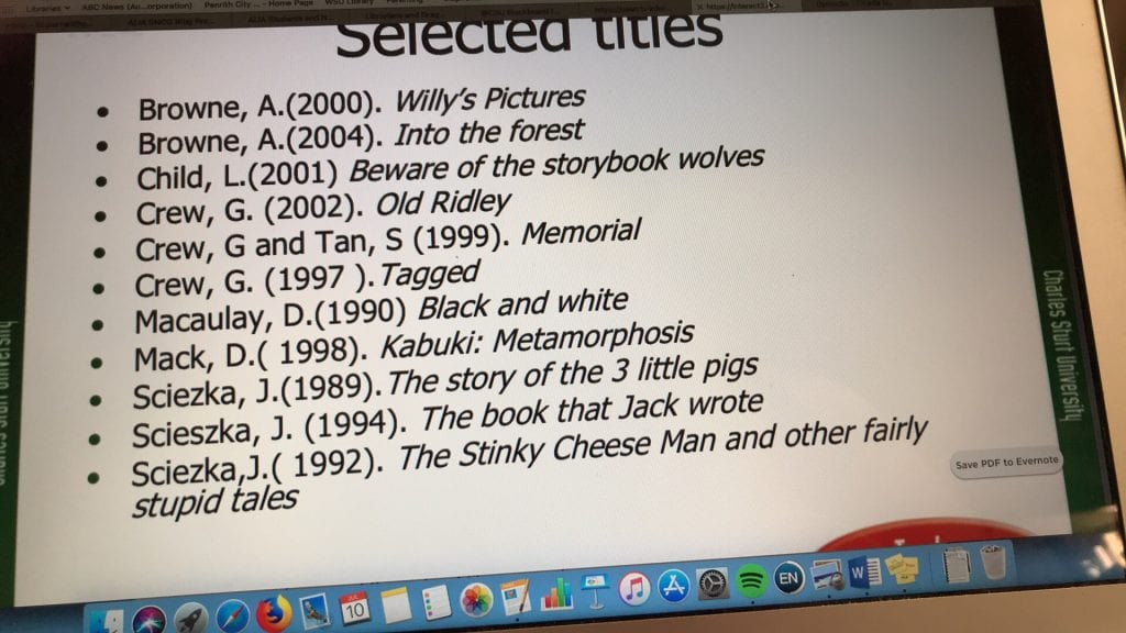 List of selected titles of postmodern picture books, none of which are published within the last fifteen years