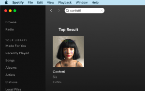 "Spotify screenshot of search results for ""confetti"""