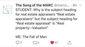 """Why is the subject heading for real estate appraisers """"Real estate appraisers"""" but the subject heading for """"Real estate appraisal"""" is """"real property - valuation""""?"""