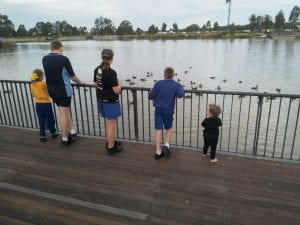 Four of my five children and one of my nieces watch the ducks.