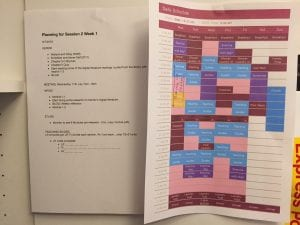 planning sheets for week 1