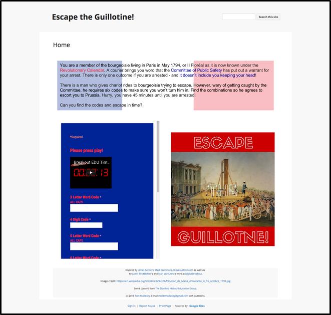 Figure 5: Escape the Guillotine Page (BreakoutEDU, 2017c) (URL: https://sites.google.com/site/escapeguillotine/.)