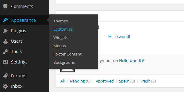 To use the Theme Customizer, rollover the Appearance button in the menu on the left of your dashboard and select Customize