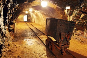Underground Train In Mine, Carts In Gold, Silver And Copper Mine