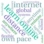 Learn online word cloud on a white background.
