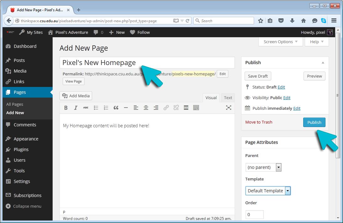 Create a Homepage