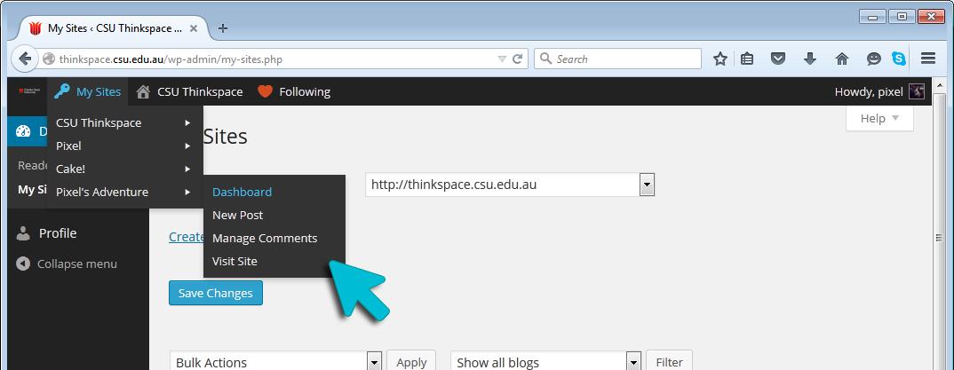 Thinkspace Dashboard - My Sites Menu