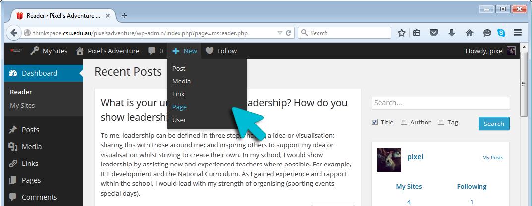 Thinkspace Dashboard - Admin Toolbar