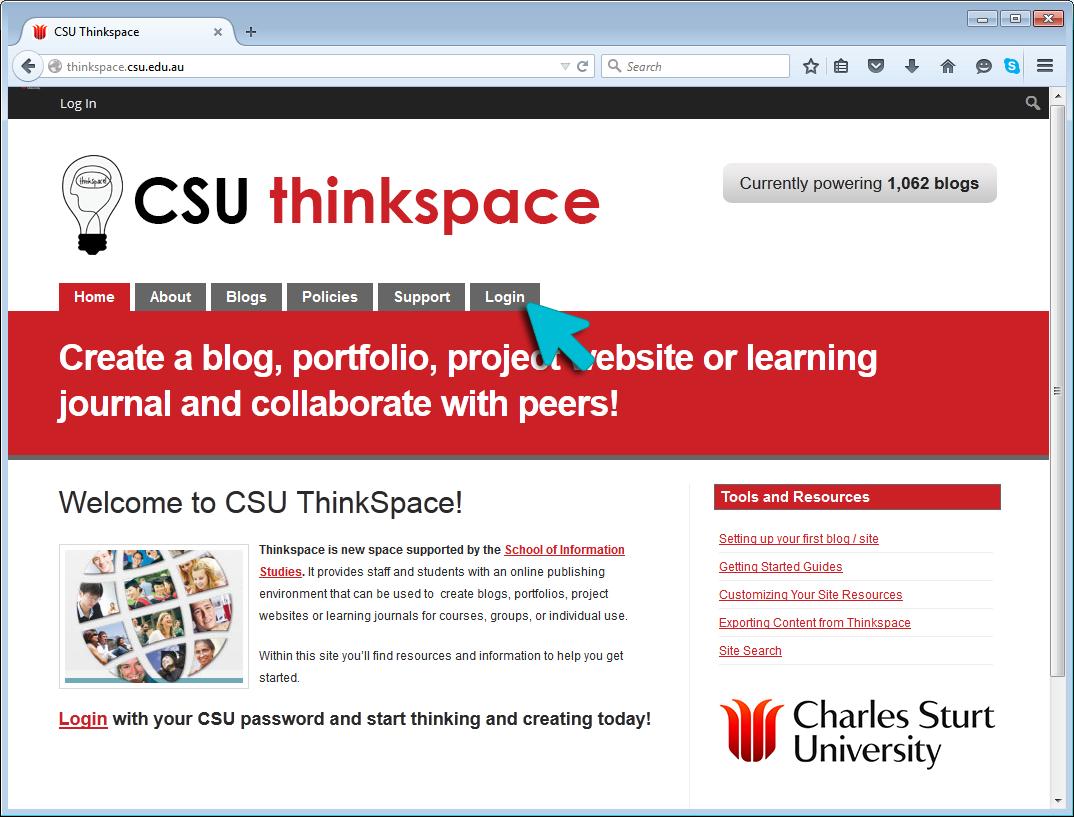 STEP 1: Thinkspace.csu.edu.au