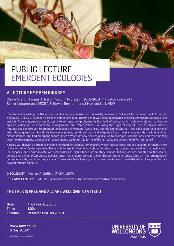 Public Lecture: Emergent Ecologies